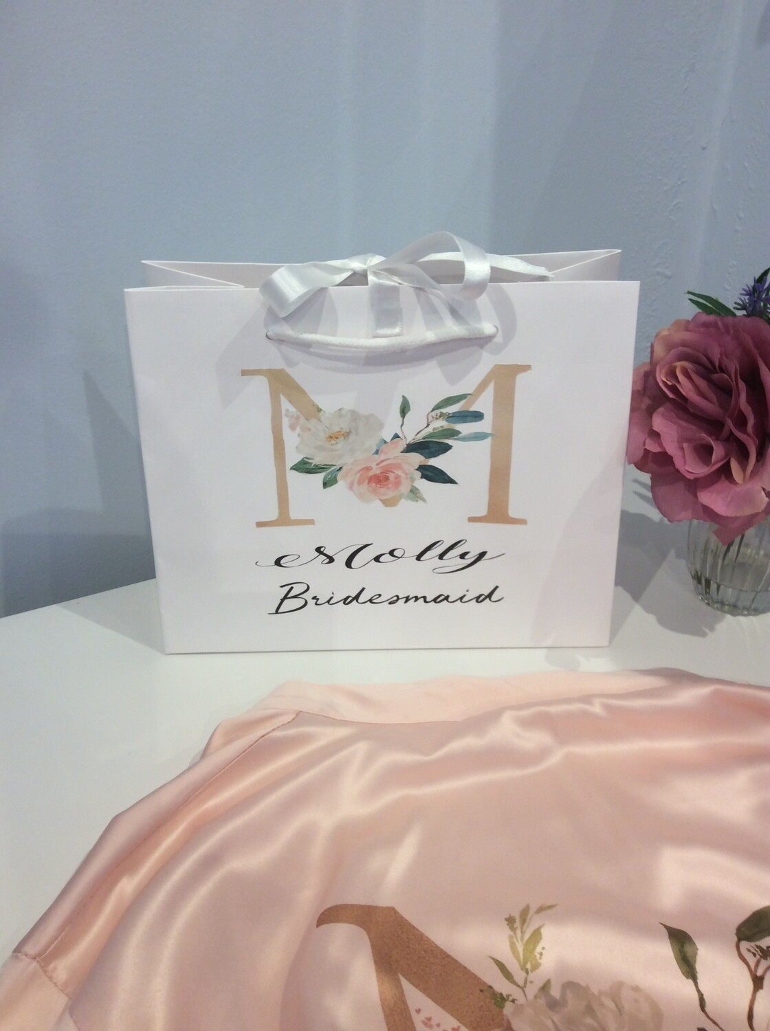 Gold floral initial gift bag