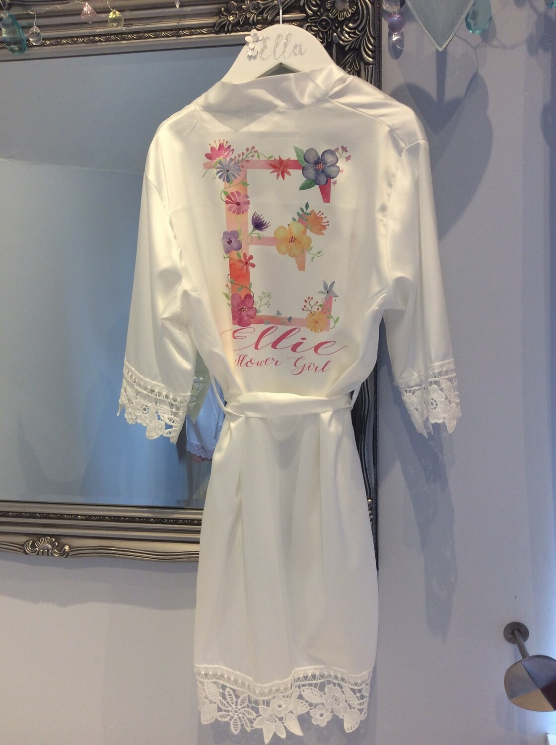 NEW..floral letter flower girl satin lace robe