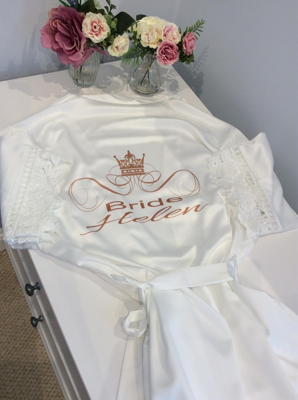 Gold crown bride robe