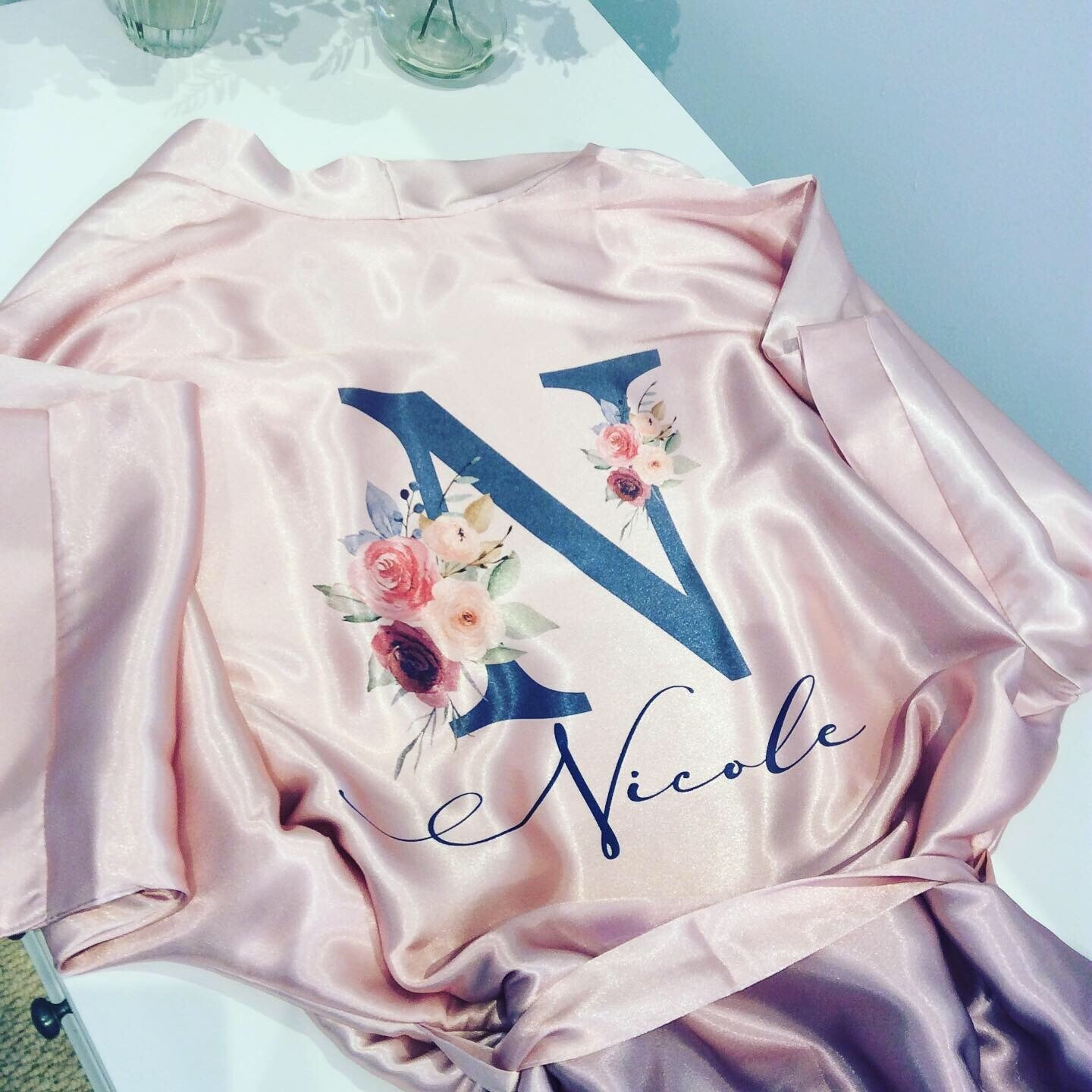 Pale pink / blue ombré satin robe