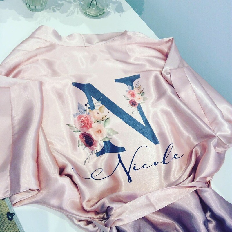 Pale pink / blue ombré satin robe