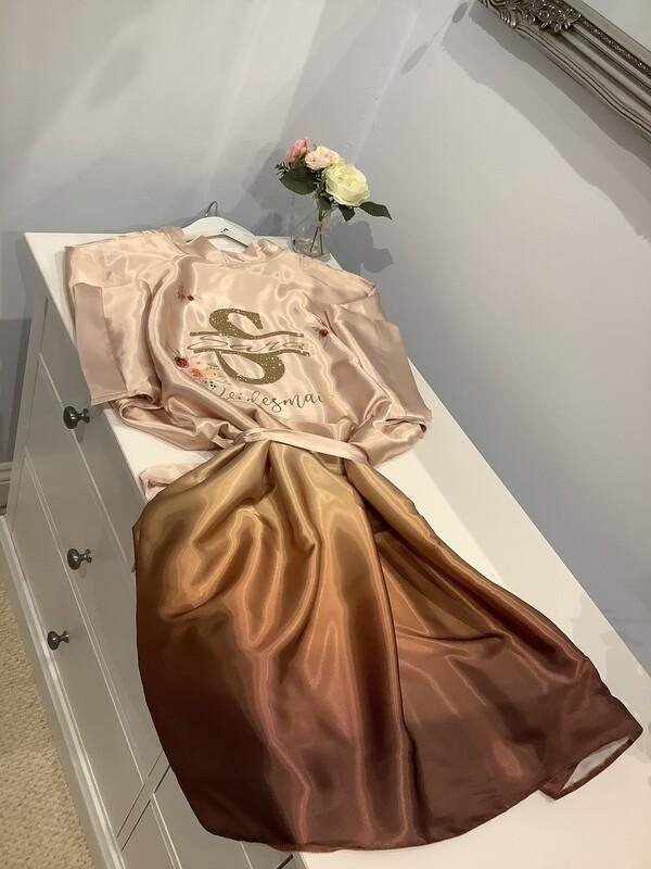 ROSE GOLD  ombré satin robes with split monogram initial design