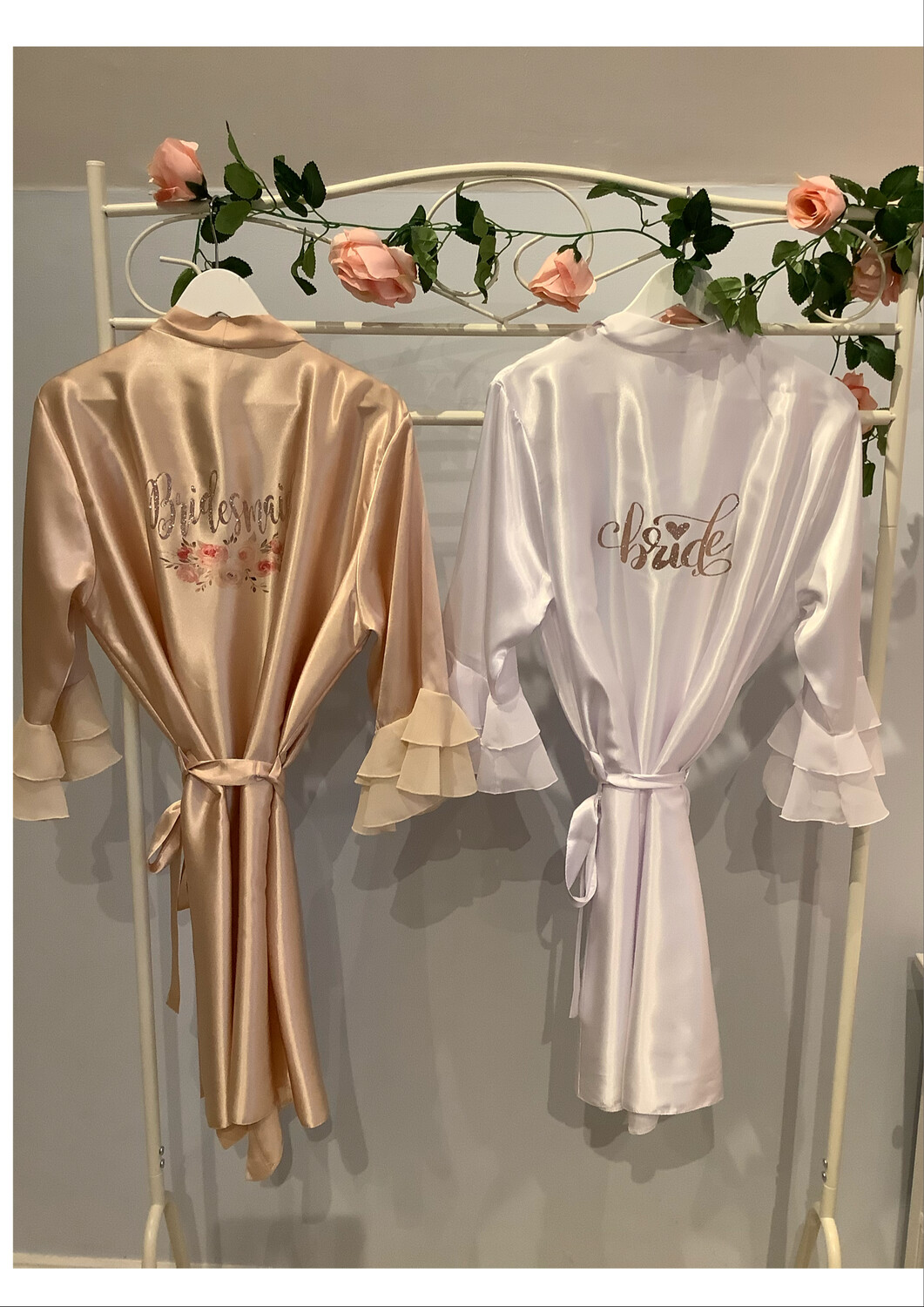 NEW Ruffle sleeved satin robes