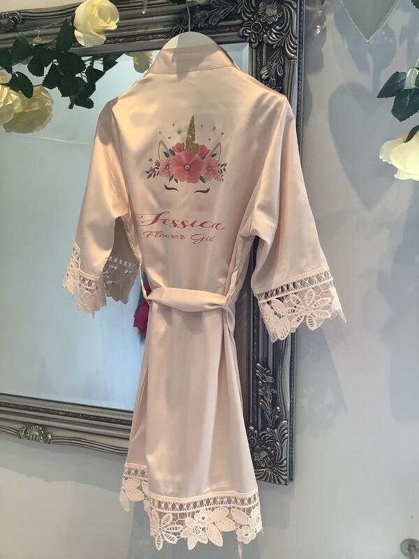 UNICORN flower girl satin robe