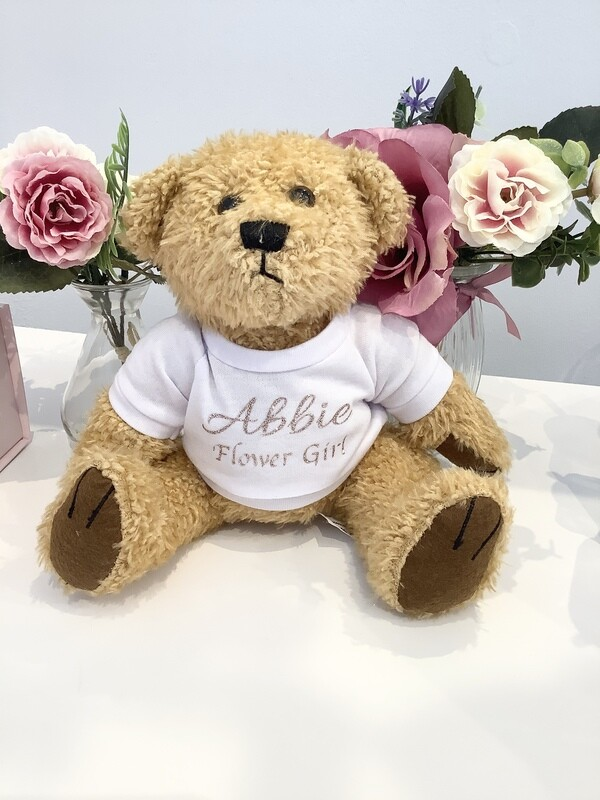 Flower girl cuddly teddy bear