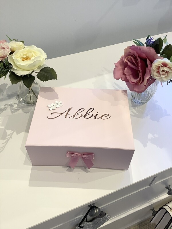 Pink flower girl boxes