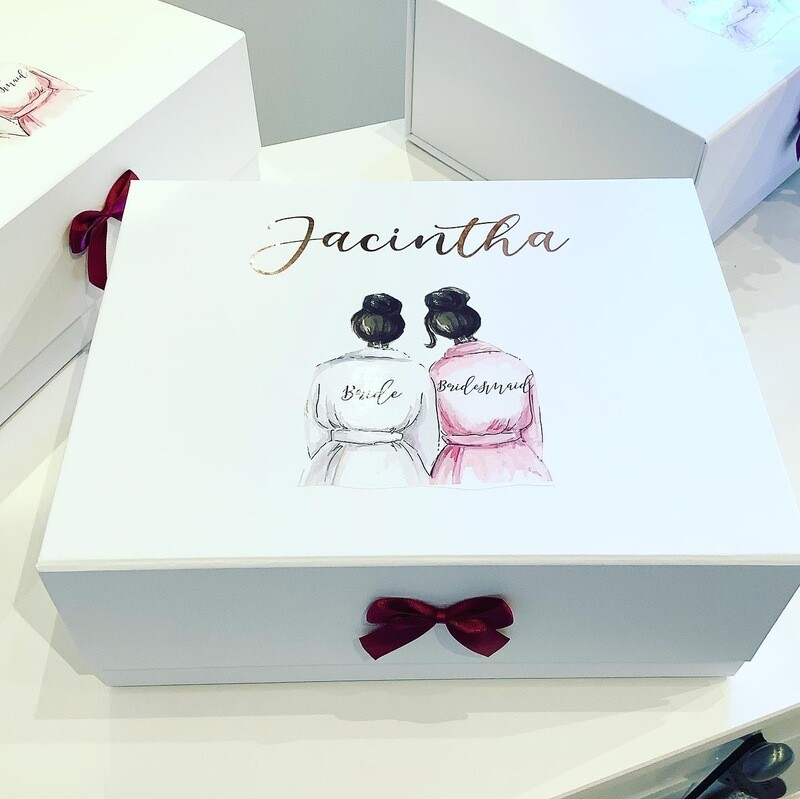 Bridesmaid Picture white snapshut gift box with champagne flute