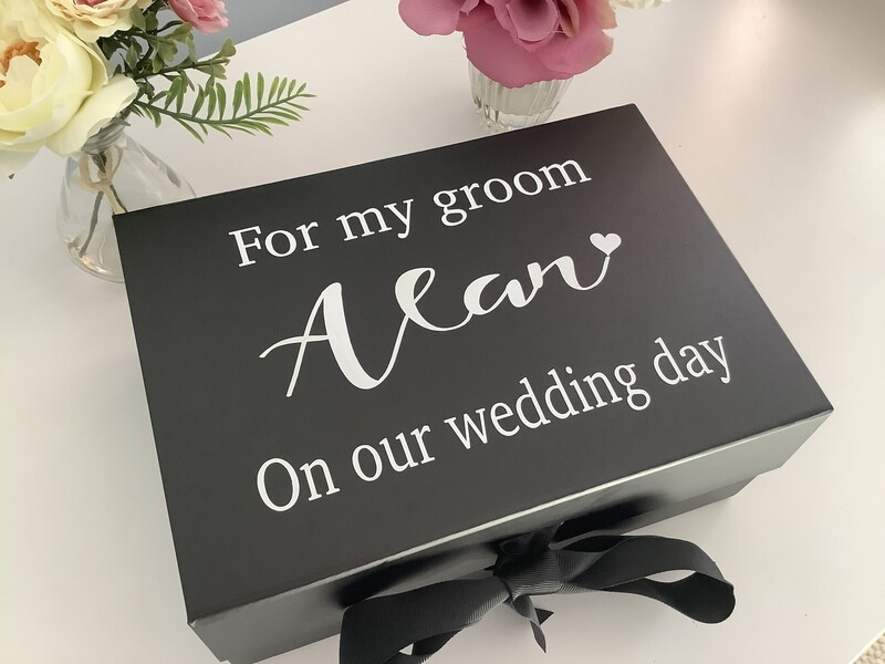 Personalised Groom box with ribbon tie
