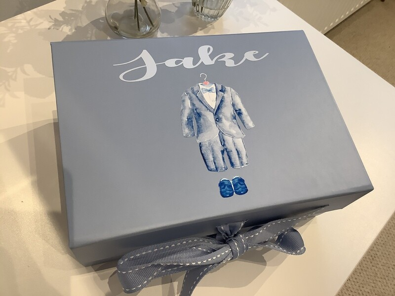 NEW pale blue ribbon tied page boy gift box