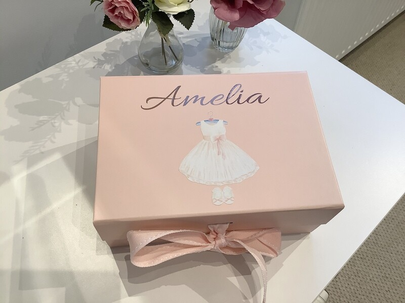 NEW pale pink ribbon tied flower girl boxes