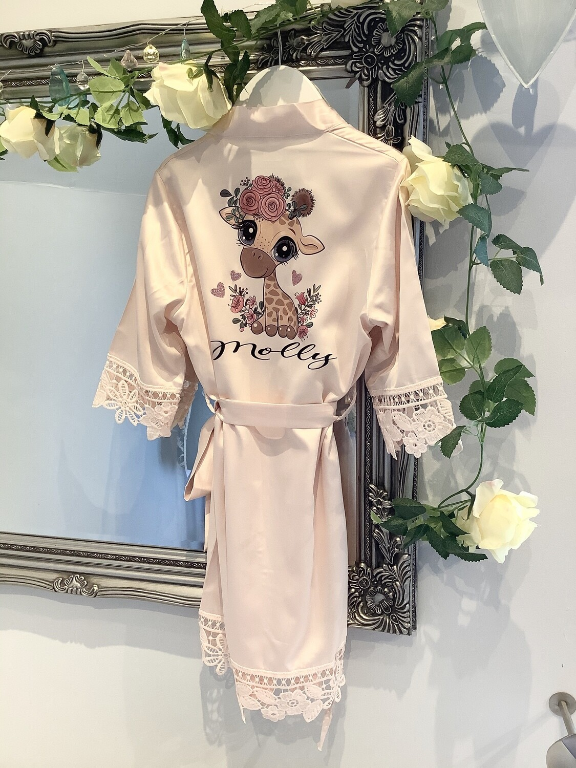 MOLLY...children's satin lace robe