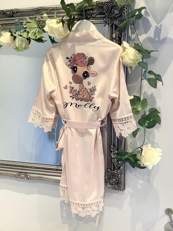 MOLLY...children's satin lace robe