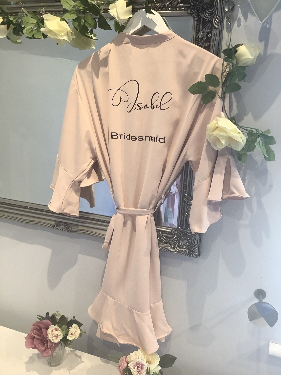 NEW.. Ruffle sleeved matte satin robes OFFER ON