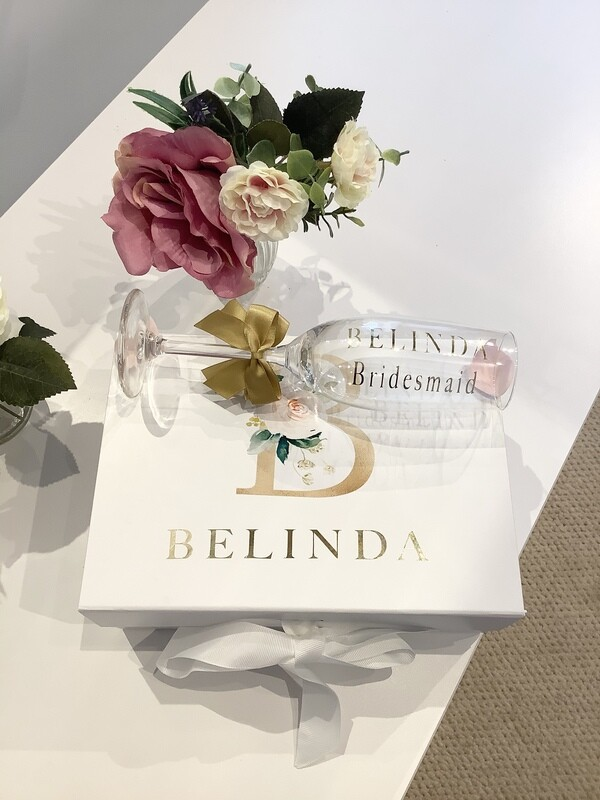 Personalised Floral initial gift box with champagne flute