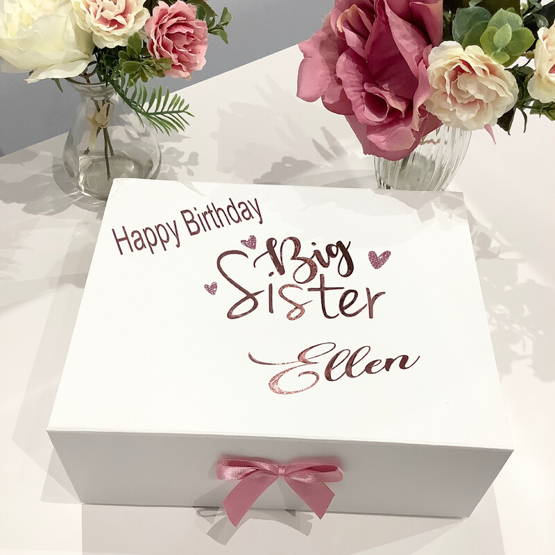 Big sister/ little sister filled birthday gift box
