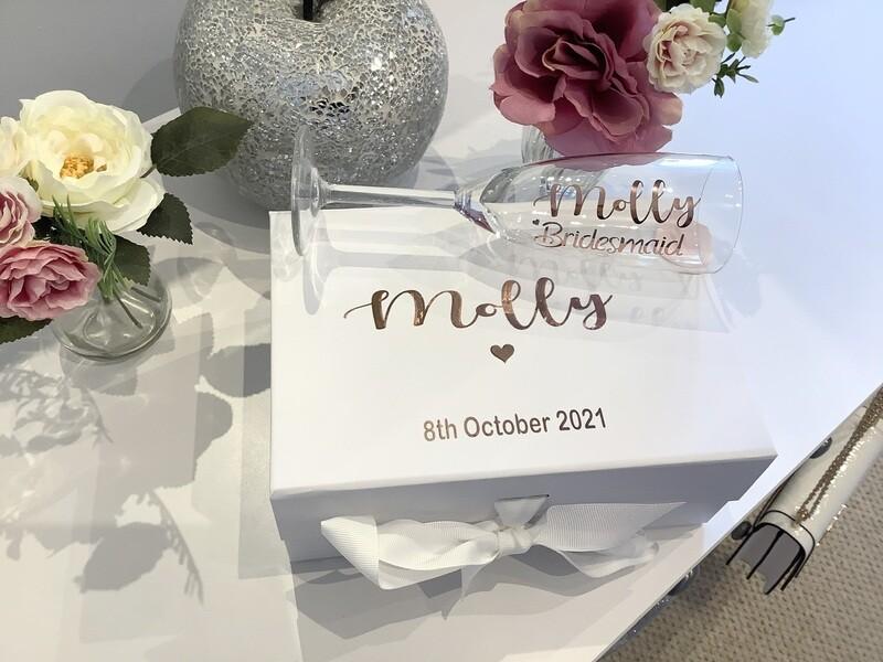 Personalised proposal medium  ribbon box & matching champagne flute