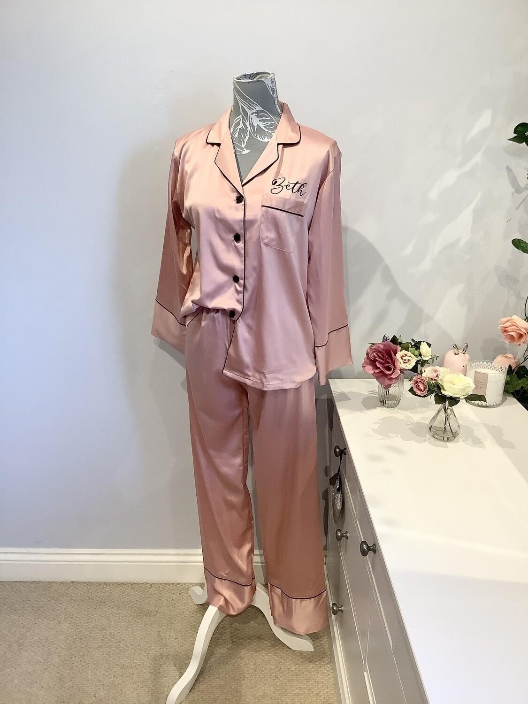 Personalised matte satin long trouser/ sleeved pjs