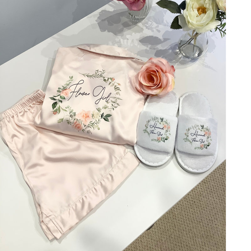 Children's satin short pjs with matching slippers
