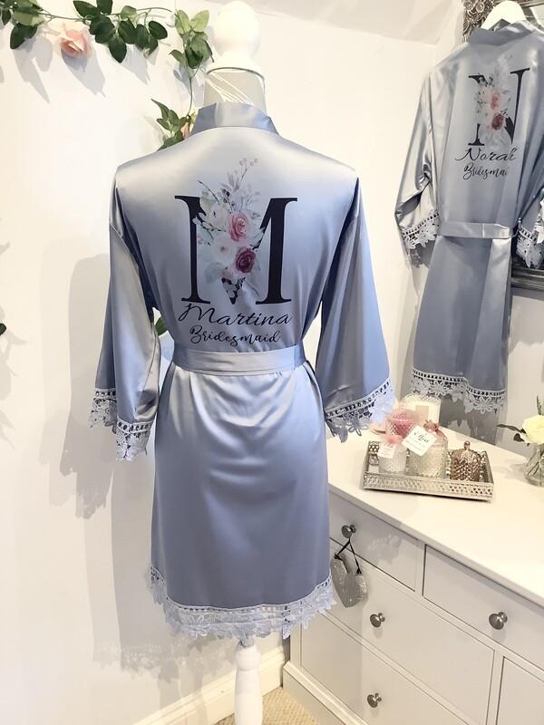 DUSKY BLUE satin lace robes