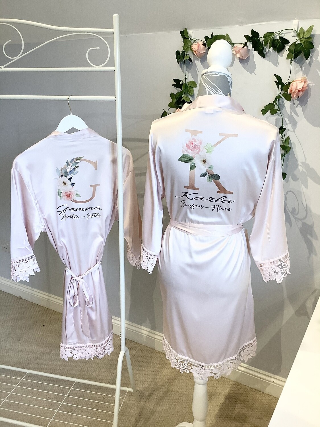 Gold floral initial satin lace robe