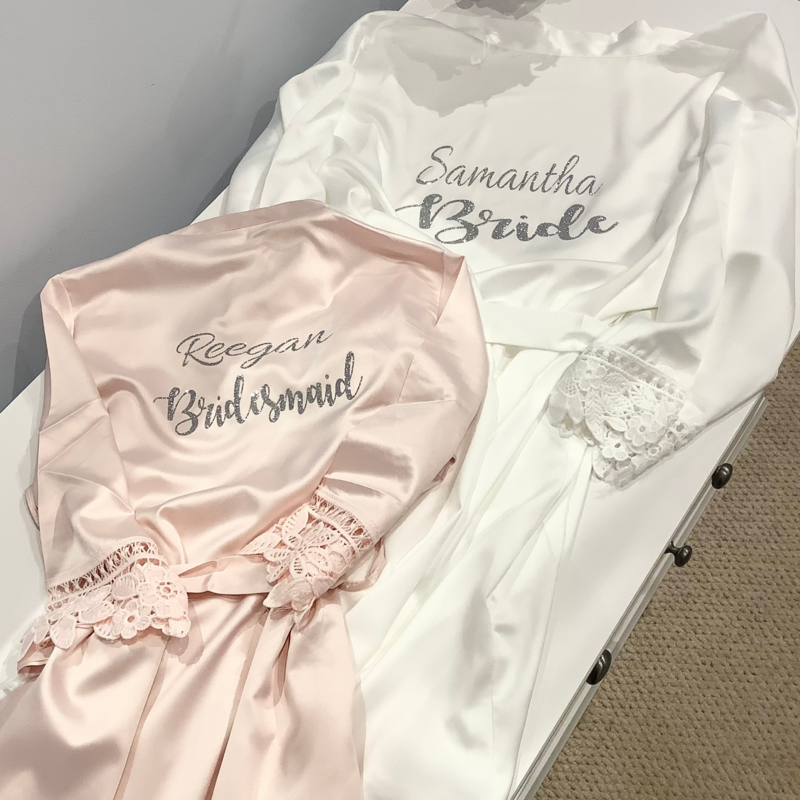 Personalised  glitter/ foil  matte satin lace edged robes