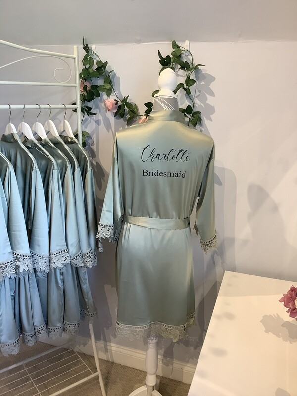 SAGE GREEN satin lace robes
