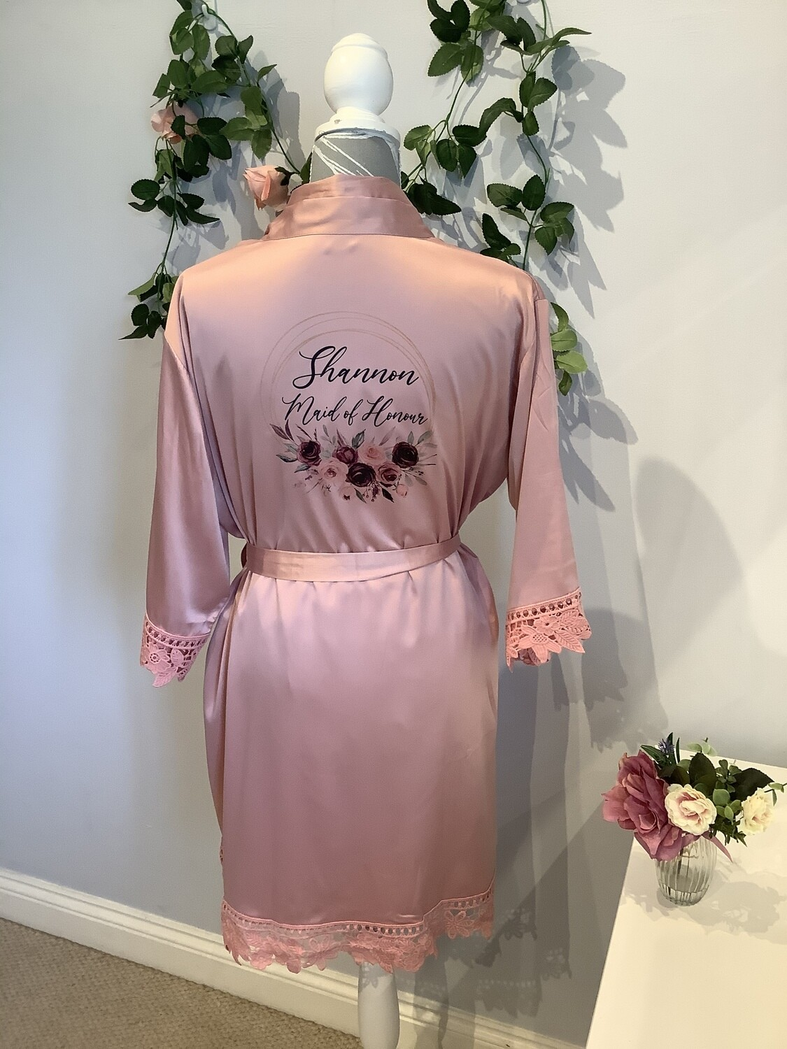 CHRISTINA Dusty pink robes with floral design