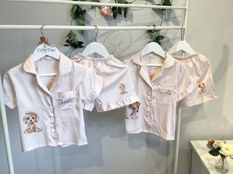 Childrens blush short pjs with CUTE puppy design