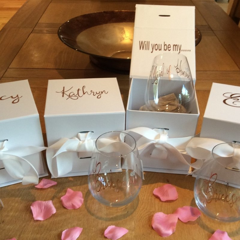 Personalised proposal boxed stemless wine glass