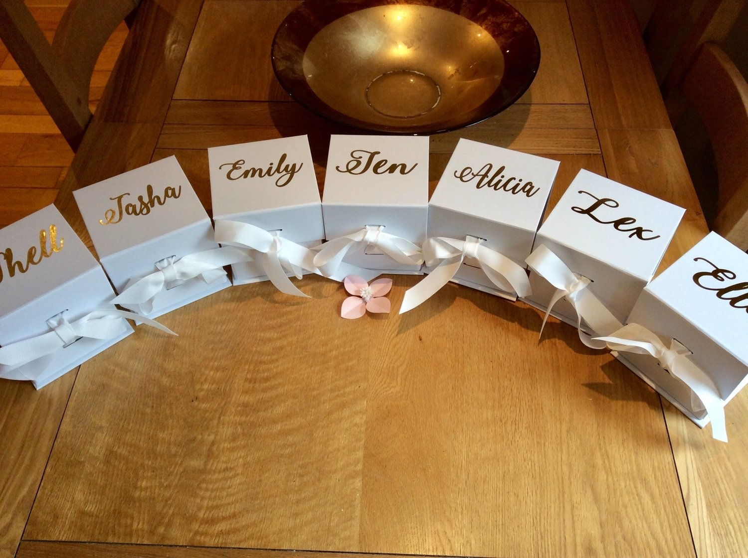 Personalised large cube ribbon tied proposal gift boxes