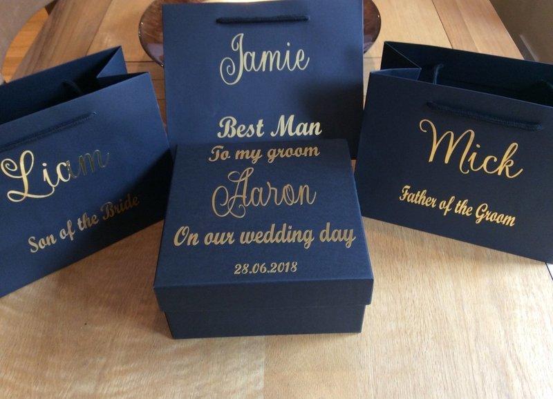 Personalised square groom box