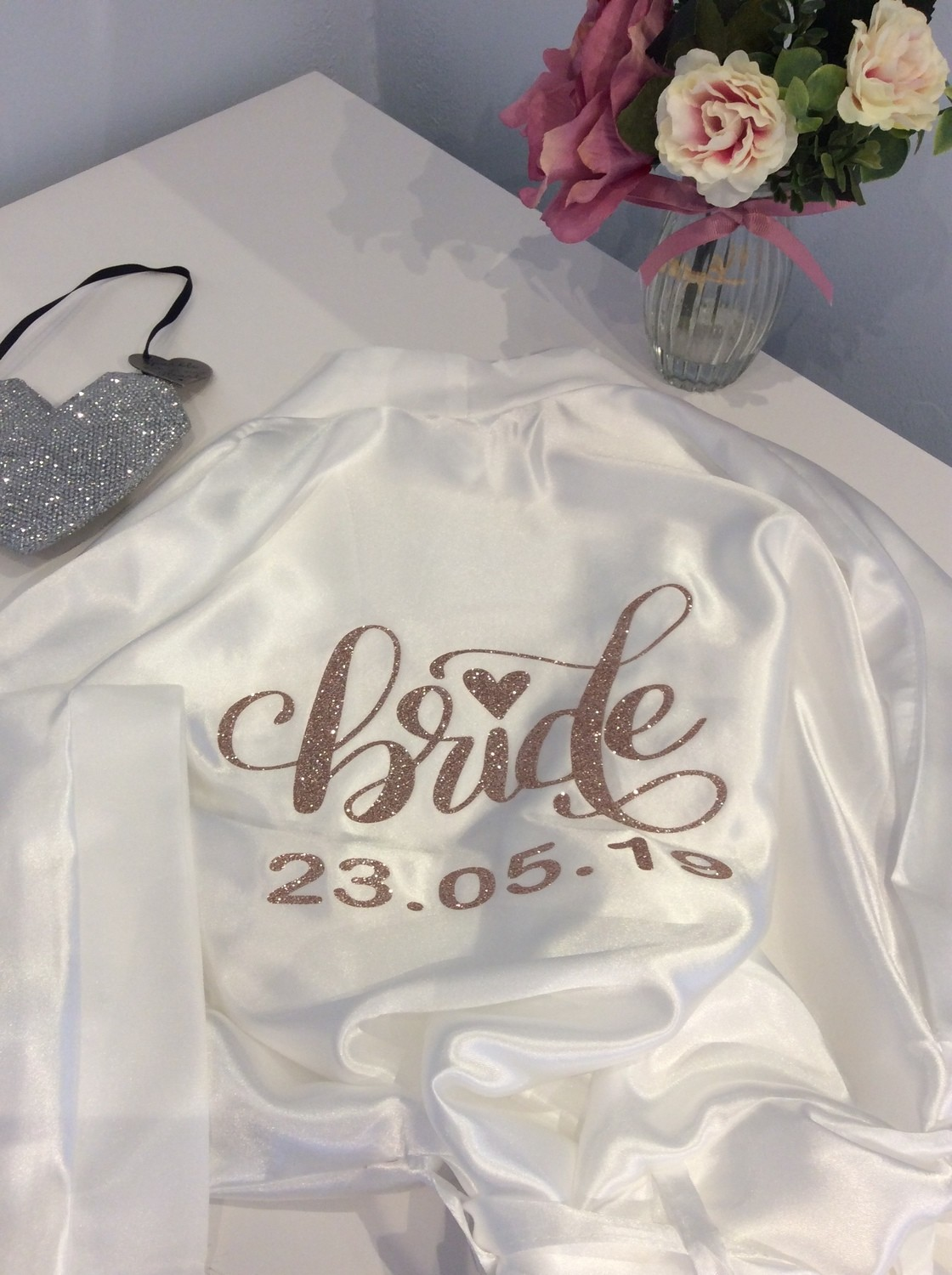 Personalised high shine plain  Satin dressing gown