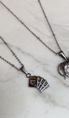 CARDS NECKLACE - GOLD & SILVER