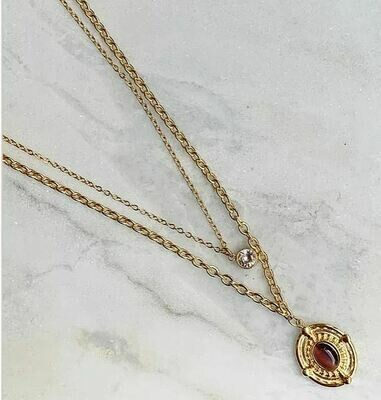 LAYERED STONE NECKLACE - GOLD & SILVER