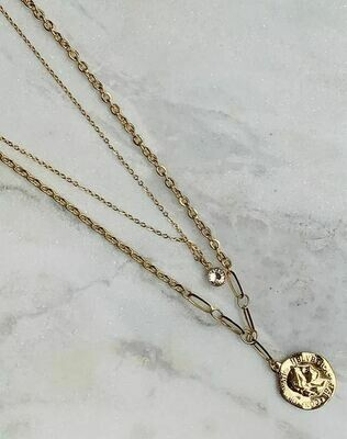 LAYERED COIN NECKLACE - GOLD & SILVER