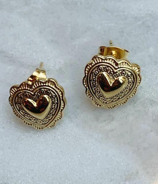 HEART STUDS - GOLD & SILVER