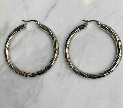 ROPE HOOPS SILVER - 3 SIZES