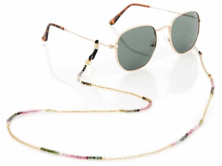 Rainbow Tourmaline - Gold Sunglasses Chains - 24k gold plated - Stones of Pure Energy