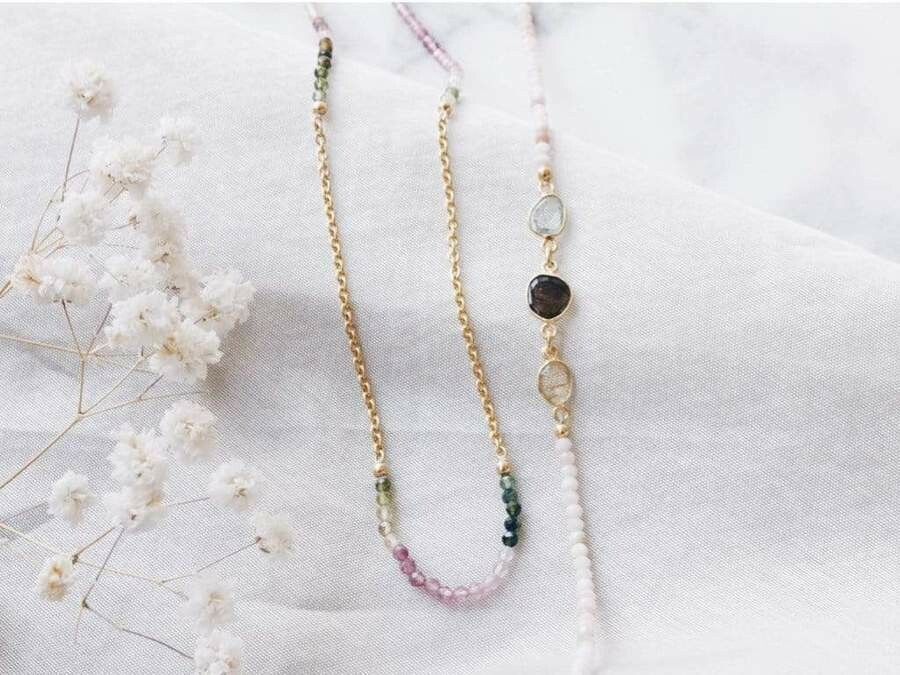 Pink Tourmaline - Gold Sunglasses Chains - 24k gold plated - Stones of Balance