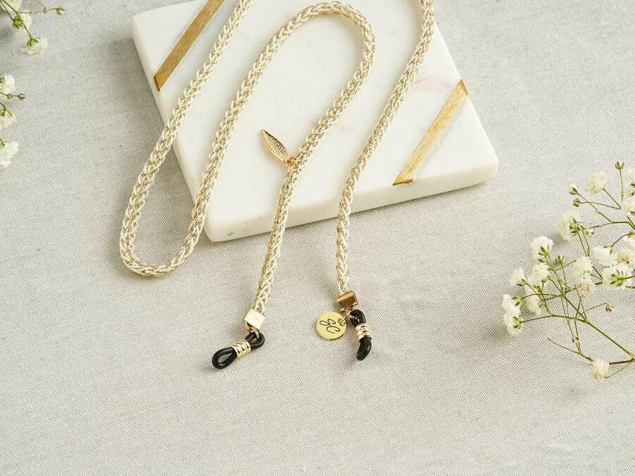 Tiny C Gold Glasses Strap - Sunglass Strap