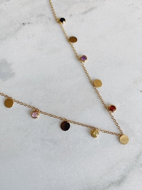 COIN AND SPARKLE CHOKER - GOLD & SILVER