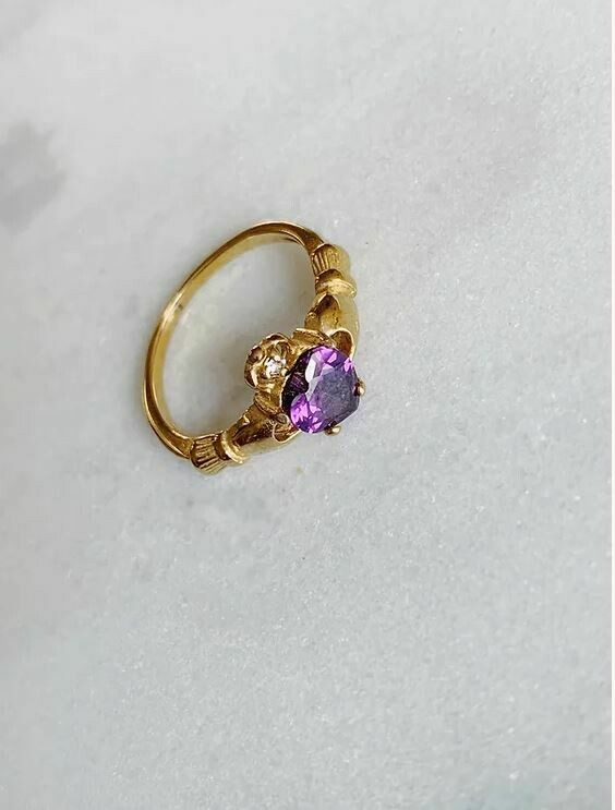 VINTAGE PURPLE STONE RING - GOLD & SILVER