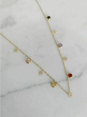 STAR AND SPARKLE CHOKER - GOLD & SILVER
