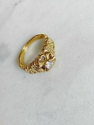 VINTAGE CLEAR STONE RING - GOLD & SILVER