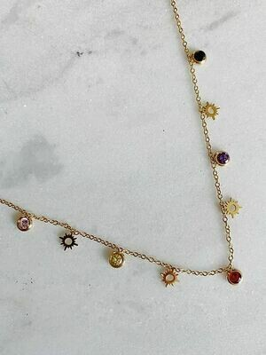 SUN AND SPARKLE CHOKER - GOLD & SILVER