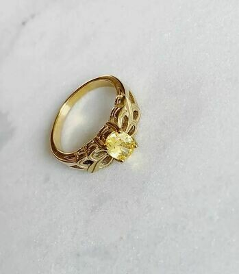 VINTAGE YELLOW STONE RING - GOLD & SILVER