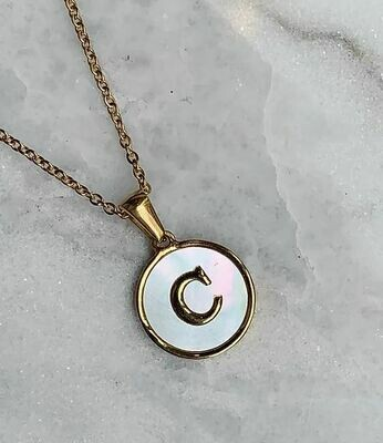 MOONSTONE LETTER NECKLACE - A-Z- GOLD & SILVER