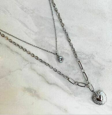 LAYERED HEART NECKLACE - GOLD & SILVER
