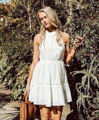 Open Back Woven Dress White - Paper Heart
