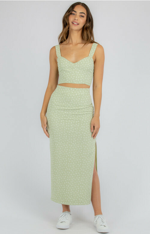 Green Crop Top White Flowers - Style State